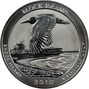2018 S Silver Block Island 25C RP obverse