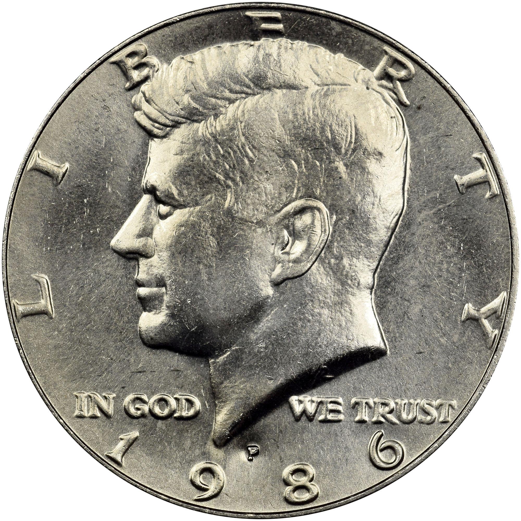 1986 P Kennedy Half Dollar in BU condition