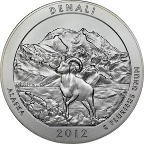 2012 P 5oz SILVER DENALI 25C SP reverse