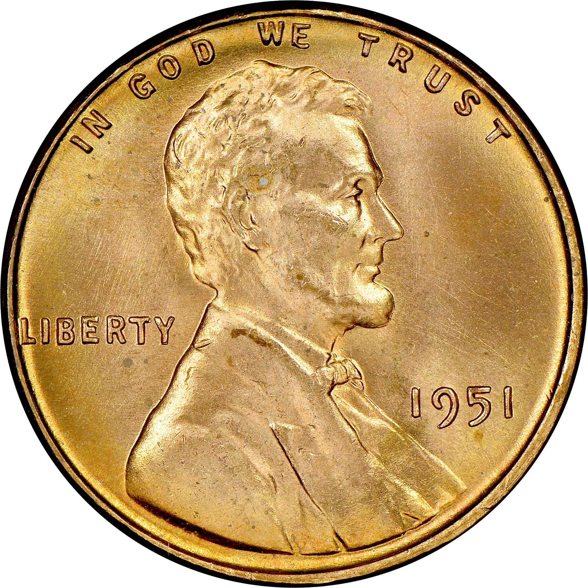 1951 1c Lincoln Wheat Cent Penny US Coin BU Uncirculated Mint State