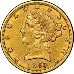 1893 S $5 MS obverse