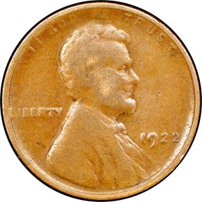 1922 NO D STRONG REVERSE 1C MS obverse