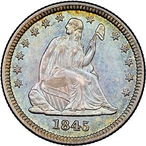 1845 25C MS obverse