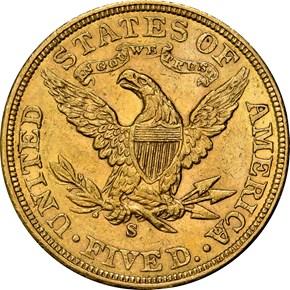 1906 S $5 MS reverse