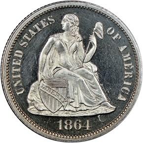 1864 10C PF obverse