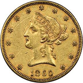 1860 $10 MS obverse