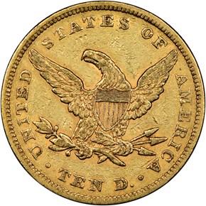 1860 $10 MS reverse
