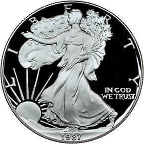 1987 S EAGLE S$1 PF obverse