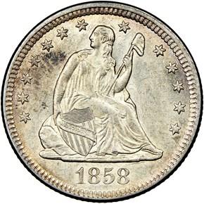 1858 O 25C MS obverse