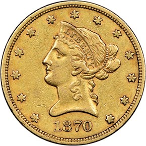 1870 S $10 MS obverse