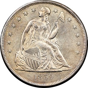 1859 O $1 MS obverse