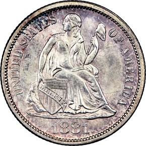 1881 10C MS obverse