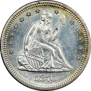 1876 S 25C MS obverse