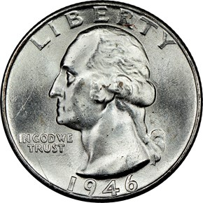 1946 D 25C MS obverse
