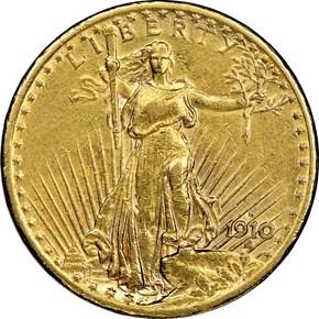 1910 S $20 MS obverse
