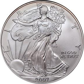2007 W EAGLE BURNISHED SILVER EAGLE S$1 MS obverse