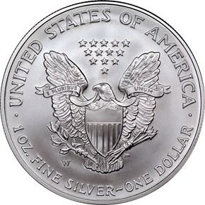2007 W EAGLE BURNISHED SILVER EAGLE S$1 MS reverse