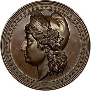 1892 E-101, AE LIBERTY HEAD HIGH RELIEF 90mm MS obverse