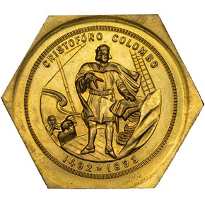 1893 IL HK-237D UNIFACE HEXIGONAL DOLLAR SC$1 MS obverse