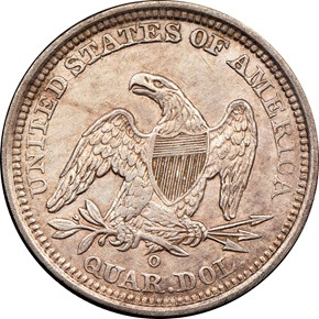 1840 O DRAPERY 25C MS reverse