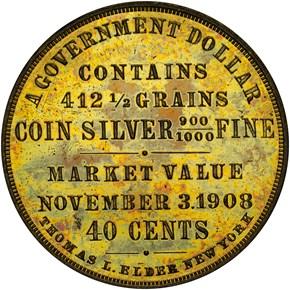 1908 HK-808 TAFT - GOLD BASIS DOLLAR SC$1 MS obverse