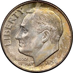 1958 D 10C MS obverse