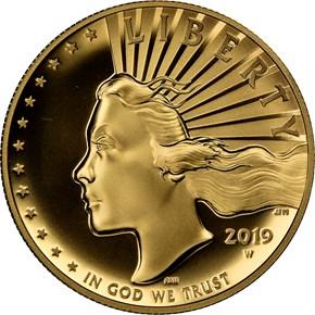 2019 W High Relief - .9999 Fine G$100 SP obverse