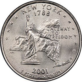 2001 D NEW YORK 25C MS reverse