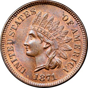 1871 1C MS obverse