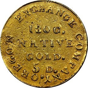 1849 OREGON EXCHANGE COMPANY $5 MS reverse