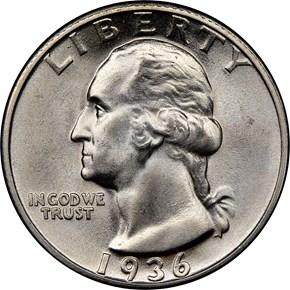 1936 25C MS obverse