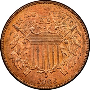 1869 2C MS obverse