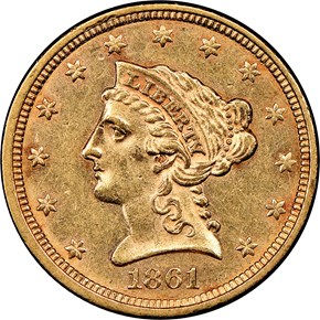 1861 TYPE 2 $2.5 MS obverse