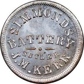 (1861-65) KY S-1-25Z J.M. KERR SUTLER MS obverse