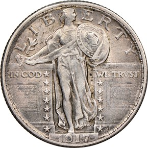 1917 TYPE 2 25C MS obverse