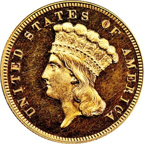 1889 $3 PF obverse
