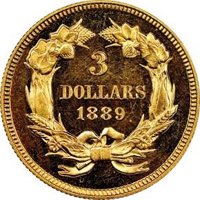 1889 $3 PF reverse