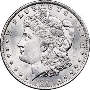 1884 O $1 MS obverse