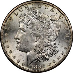 1884 S $1 MS obverse