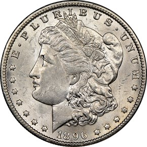 1896 O $1 MS obverse