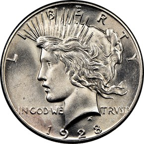 1928 $1 MS obverse