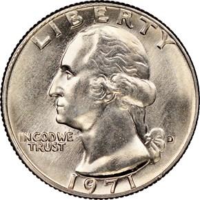 1971 D 25C MS obverse