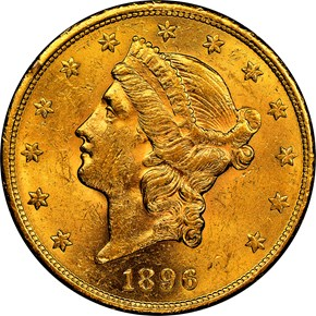 1896 S $20 MS obverse