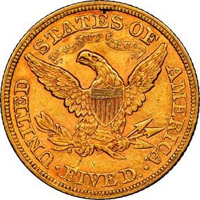 1866 MOTTO $5 MS reverse