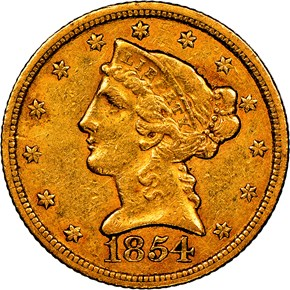 1854 C WEAK C $5 MS obverse