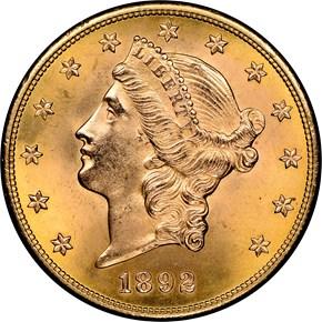 1892 S $20 MS obverse