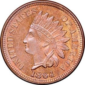 1864 BRONZE 1C MS obverse