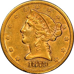 1879 CC $5 MS obverse