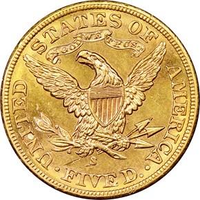 1904 S $5 MS reverse