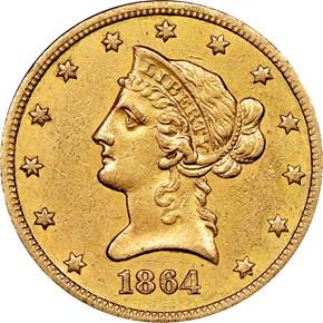 1864 S $10 MS obverse